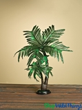"LED Twin Palm Tree, 2' Tall, Green, Battery Operated - Centerpiece ""Tropical Party Tree"" with Timer"