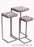 CLEARANCE - Leopard Print Nesting Tables - Brushed Nickel Frames - Set of 3
