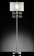 """Loft"" Glass & Silver Floor Lamp - 17""Lx17Wx62""H"