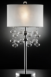 """Loft"" Glass & Silver Table Lamp - 16""Lx16Wx30.50""H"
