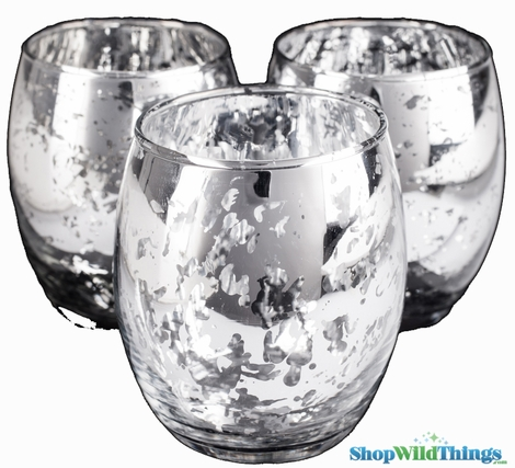 """Mercury Glass Candle Holders """"Analisa""""- Set of 12  - 2.75"""" x 3.25"""" - Silver"""