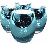 "Mercury Glass Candle Holders ""Analisa""- Set of 12  - 2.75"" Wide x 3.25"" Tall - Turquoise"