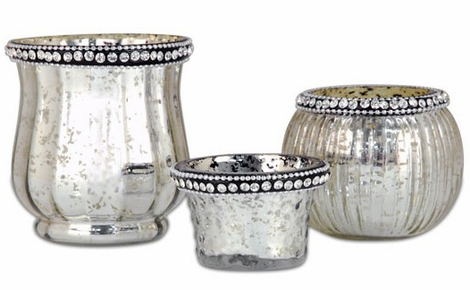 Mercury Glass Candle Holders Assorted Vintage Shapes - Set of 3 - Silver