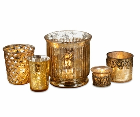 Mercury Glass Candle Holders Assorted Vintage Shapes - Set of 5 - Champagne