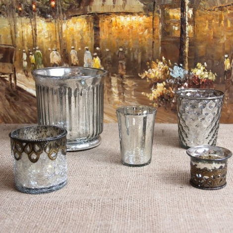 Mercury Glass Candle Holders Assorted Vintage Shapes - Set of 5 - Silver & Gold