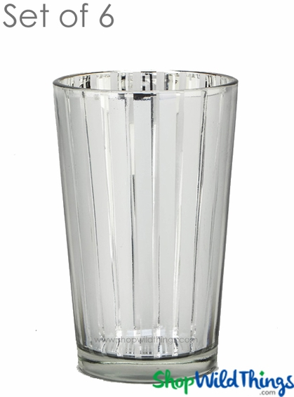 "Mercury Glass Candle Holders - ""Destiny"" Large - Set of 6 - 4 1/4"" Tall - Silver Stripe"
