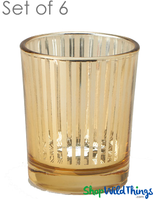 """Mercury Glass Candle Holders - """"Destiny"""" Small - Set of 6 - 2 1/2"""" Tall - Gold Stripe"""