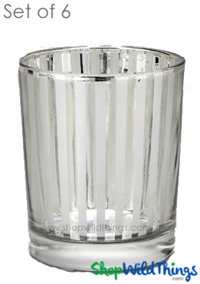 "Mercury Glass Candle Holders - ""Destiny"" Small - Set of 6 - 2 1/2"" Tall - Silver Stripe"