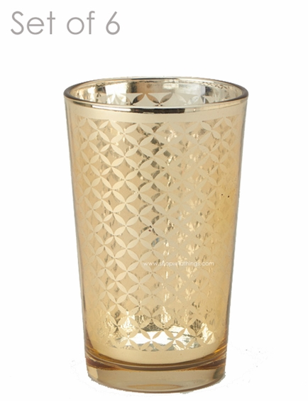 """Mercury Glass Candle Holders - """"Kylie"""" Large - Set of 6 - 4 1/4"""" Tall - Gold Lattice"""