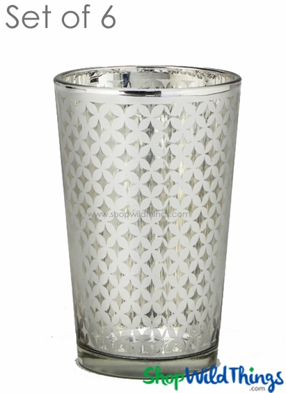 "Mercury Glass Candle Holders - ""Kylie"" Large - Set of 6 - 4 1/4"" Tall - Silver Lattice"