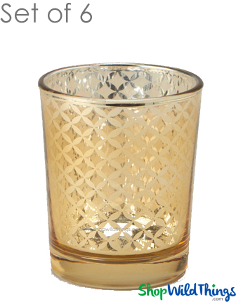 """Mercury Glass Candle Holders - """"Kylie"""" Small - Set of 6 - 2 1/2"""" Tall - Gold Lattice"""