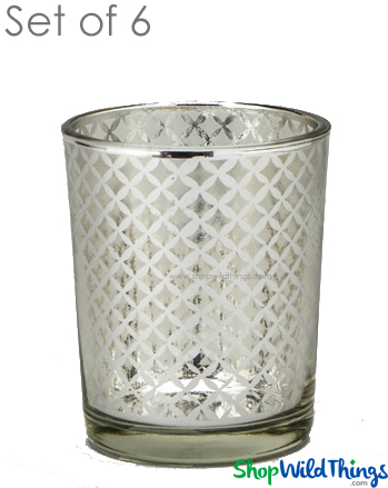 """Mercury Glass Candle Holders - """"Kylie"""" Small - Set of 6 - 2 1/2"""" Tall - Silver Lattice"""