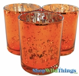 "Mercury Glass Candle Holders - Round ""Leslie"" Orange - Set of 12 - 3"" Wide x 3"" Tall"