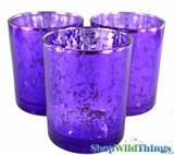 "Mercury Glass Candle Holders - Round ""Leslie"" Purple - Set of 12 - 3"" Wide x 3"" Tall"