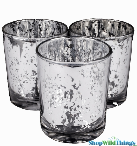 "Mercury Glass Candle Holders - Round ""Leslie"" Silver - Set of 12 - 3"" x 3"""