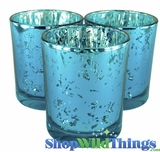 "Mercury Glass Candle Holders - Round ""Leslie"" Turquoise - Set of 12 - 3"" Wide x 3"" Tall"