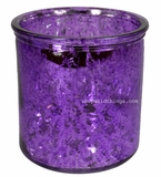 "Mercury Glass Candle Holders - Round ""Merilee""-  Set of 6 - 3.75"" Wide x 4"" Tall - Purple"