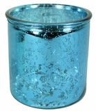 "Mercury Glass Candle Holders - Round ""Merilee""-  Set of 6 - 3.75"" Wide x 4"" Tall - Turquoise"