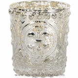 "Candle Holder Mercury Glass - Fleur de Lis - 3"" x 3 1/4"""