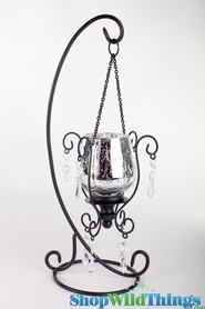 """Mercury Glass Hanging Candle Holder on Stand 16"""" - Silver"""
