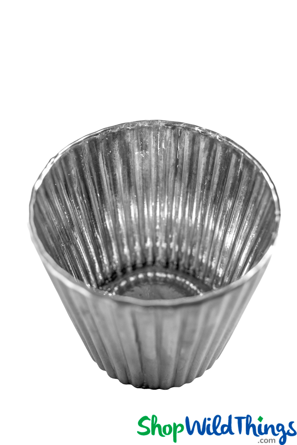 """Mercury Glass Ribbed Candle Holder - Matte Gray - 3"""" x 3"""""""