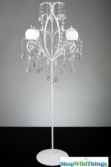 White Candelabra With Hanging Crystals Beads White