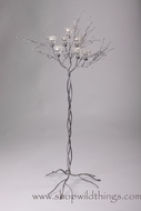 "Metal Candle Tree (SILVER) W/ Clear Beads - 7 cups 60""  Tall"