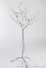 "Metal Candle Tree Silver with Clear Beads - 5 cups, 36""  tall"