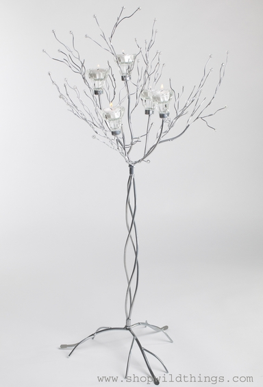"""Metal Candle Tree Silver with Clear Beads - 5 cups, 36""""  tall"""
