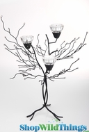 "Metal Candle Tree with Clear Beads - 3 Cups 18""  Tall"