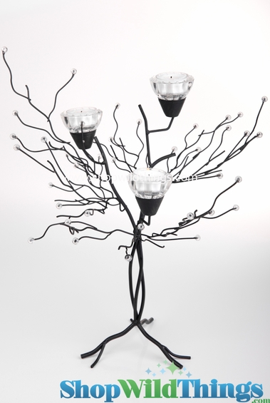 """Metal Candle Tree with Clear Beads - 3 Cups 18""""  Tall"""