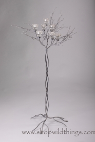 "Metal Candle Tree with Clear Beads SILVER - 7 cups, 41""-42"" tall"