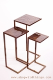 Metal Nesting Tables, Set of 3 - Amber/Gold