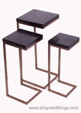 Metal Nesting Tables, Set of 3 , Black Alligator 7 Brushed Copper
