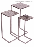 CLEARANCE - Metal Nesting Tables, Set of 3 - Brushed Nickel Finish