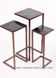 Metal Nesting Tables, Set of 3 - Copper/Bronze & Teal Green