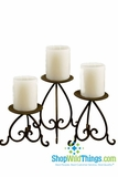 Metal Scroll Candle Holder - Set of 3 - Dark Brown