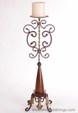 "CLEARANCE - Metal Tuscany Style ""Tower 1"" Metal Pillar Candle Holder 29"" Tall"