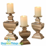 "Metallic  ""Champagne"" Pillar Candle Holder Set of 3"
