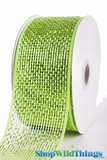 "Metallic Mesh Ribbon, Apple Green 2.5"" x 25 yds - Green with Green Metallic Foil - Deco Mesh"