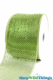"Metallic Mesh Ribbon, Apple Green 4"" x 25 yds - Green with Green Metallic Foil - Deco Mesh"