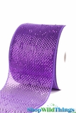 "Metallic Mesh Ribbon, Purple 4"" x 25 yds - Purple with Purple Metallic Foil -Deco Mesh"