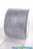 "Metallic Mesh Ribbon, Silver 4"" x 25 yds - Silver with Silver Holographic Foil -Deco Mesh"