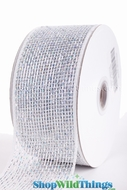 "Metallic Mesh Ribbon, White 2.5"" x 25 yds - White with Holographic Metallic Foil - Deco Mesh"