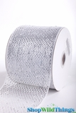 "CLEARANCE - Metallic Mesh Ribbon, White  4"" x 25 yds - White with Holographic Foil - Deco Mesh"