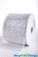 "Metallic Mesh Ribbon, White  4"" x 25 yds - White with Holographic Foil - Deco Mesh"