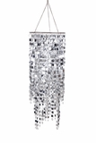 "Chandelier ""Kalina"" 23.5"" x 9"" - Clear Crystals & Silver Squares!"