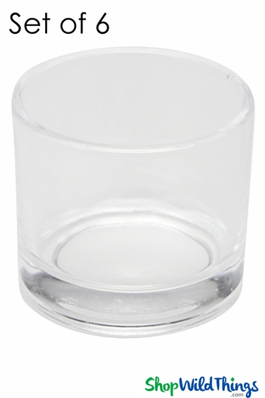 """Vase or Candle Holder Glass Round - Clear 2"""" - Set of 6"""