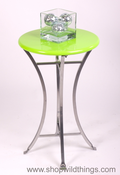 CLEARANCE   Modern Lime Green End Table With Silver Base