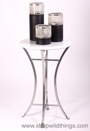Modern White End Table with Silver Base